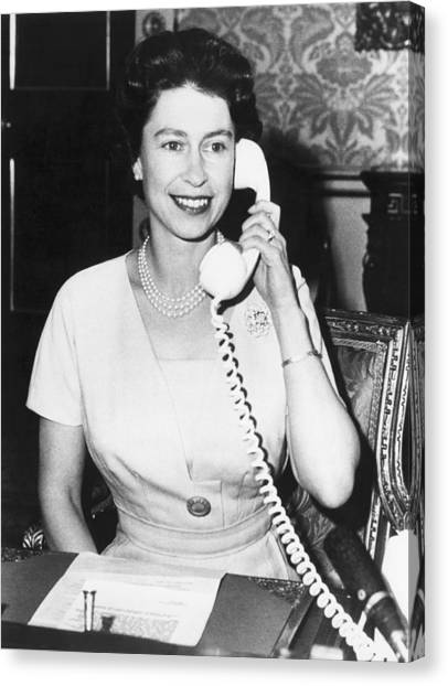 Queen Elizabeth Canvas Print - Queen Elizabeth On The Phone by Underwood Archives