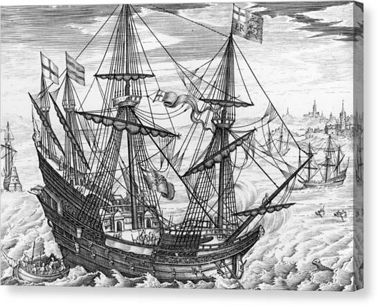 Queen Elizabeth Canvas Print - Queen Elizabeth S Galleon by English School