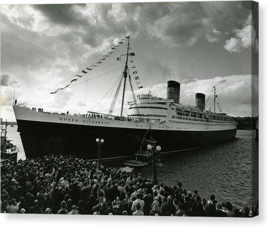 Queen Elizabeth Canvas Print - Queen Elizabeth Ship In Harbor By Barney Stein by Retro Images Archive
