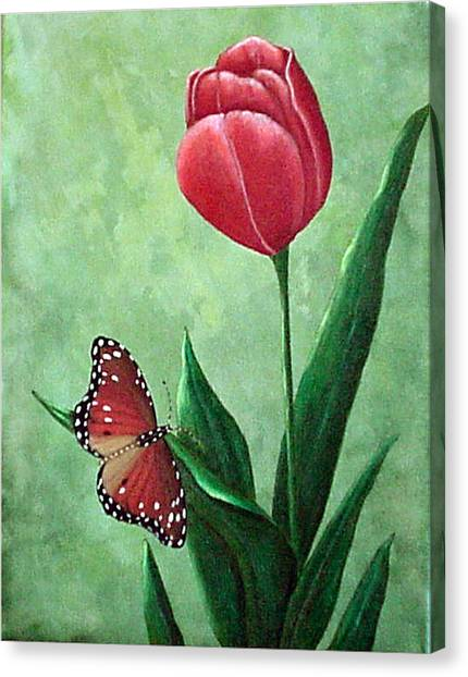 Queen Monarch And Red Tulip Canvas Print