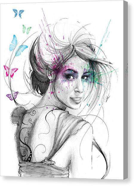 Mythological Creatures Canvas Print - Queen Of Butterflies by Olga Shvartsur