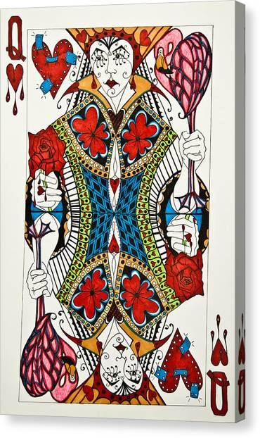 Canvas Print featuring the drawing Queen Of Hearts - Wip by Jani Freimann