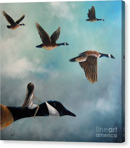 Big Sky Canvas Print - Queen Of The Canada Geese By Shawna Erback by Artisan Parlour
