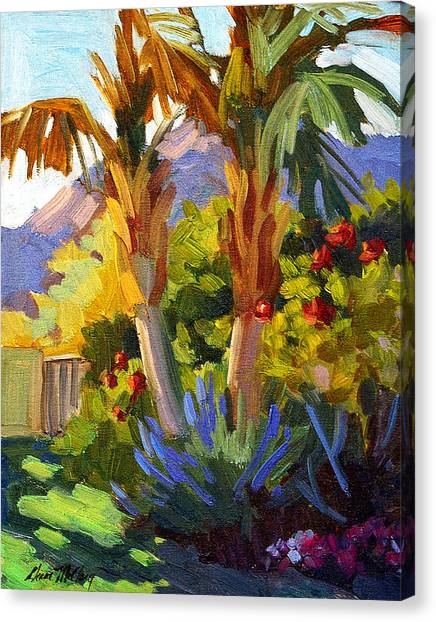 Canaries Canvas Print - Queen Palms by Diane McClary