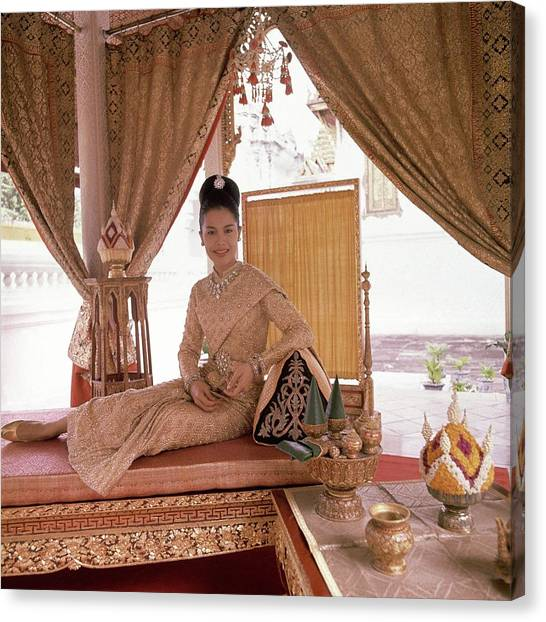 Updo Canvas Print - Queen Sirikit At The Grand Palace by Henry Clarke