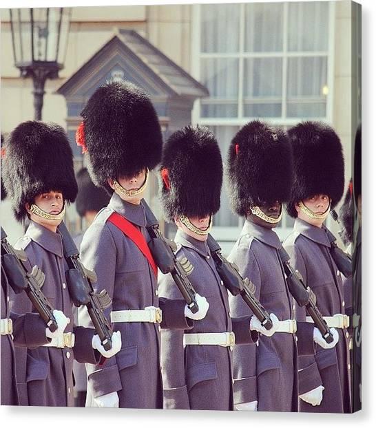 Royal Guard Canvas Print - #queensguard #buckinghampalace #london by Mike Fletcher