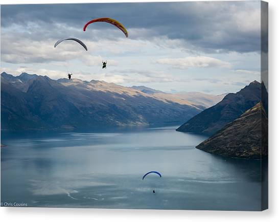 Queenstown Paragliders Canvas Print