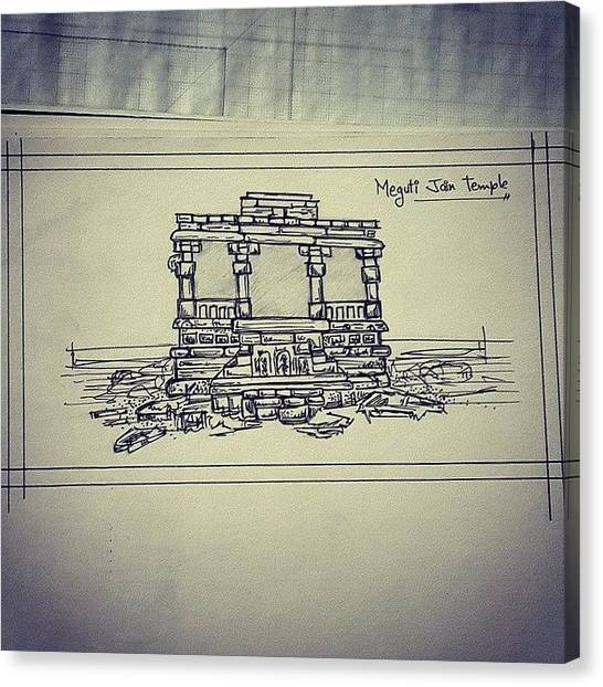 Submission Canvas Print - Quick Sketch, Meguti Jain Temple by Nishant Vaidya