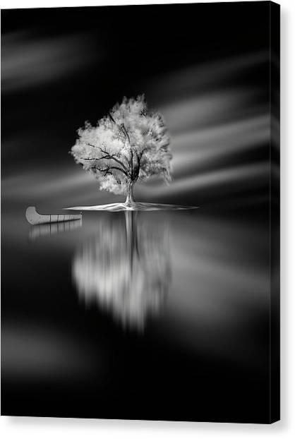 Canoes Canvas Print - Quiet by David Senechal Photographie