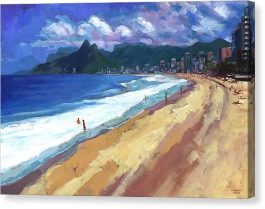 Acrylic On Canvas Print - Quiet Day At Ipanema Beach by Douglas Simonson