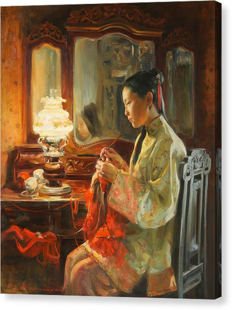 Oils Canvas Print - Quiet Evening by Victoria Kharchenko