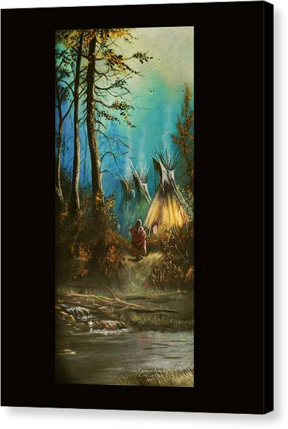 Quiet Forest With Tepees Blank Canvas Print