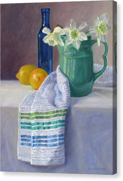 Old Pitcher Canvas Print - Quiet Moment- Daffodils In A Blue Green Pitcher With Lemons by Bonnie Mason