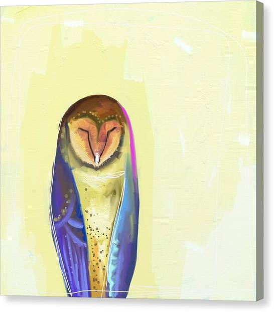 Yellow Canvas Print - Quiet Owl by Cathy Walters