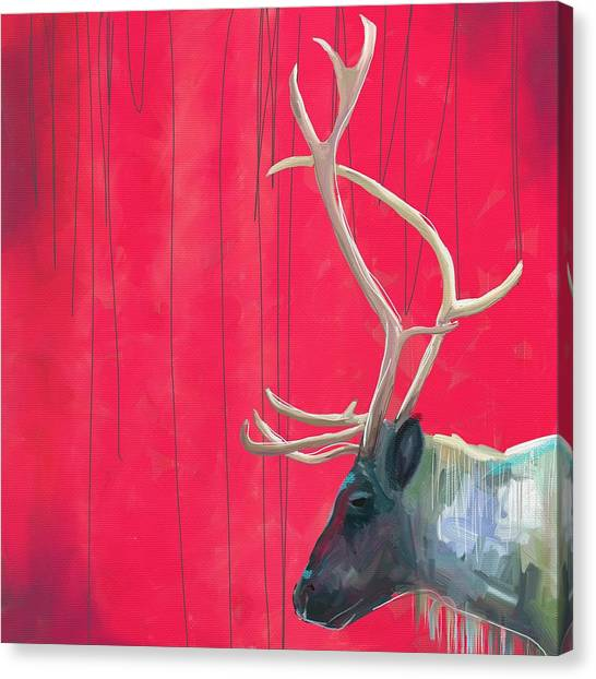 Large Mammals Canvas Print - Quiet Reindeer by Cathy Walters