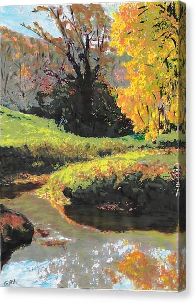Canvas Print featuring the painting Quiet Stream Maryland Landscape Fall Colors Sketch by G Linsenmayer