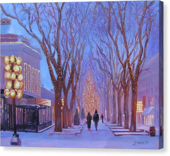 Trees In Snow Canvas Print - Quincy Market At Twilight by Laura Lee Zanghetti