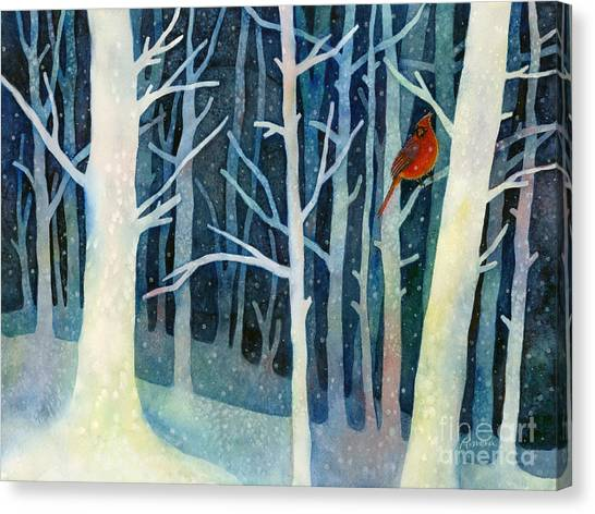 Trees In Snow Canvas Print - Quiet Moment by Hailey E Herrera