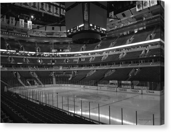 Patrick Kane Canvas Print - Quite Time Chicago United Center Before The Gates Open 01 Bw by Thomas Woolworth