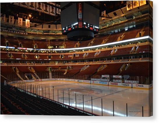 Patrick Kane Canvas Print - Quite Time Chicago United Center Before The Gates Open 01 by Thomas Woolworth
