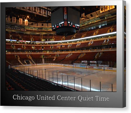 Patrick Kane Canvas Print - Quite Time Chicago United Center Before The Gates Open 01 With Text Sb by Thomas Woolworth