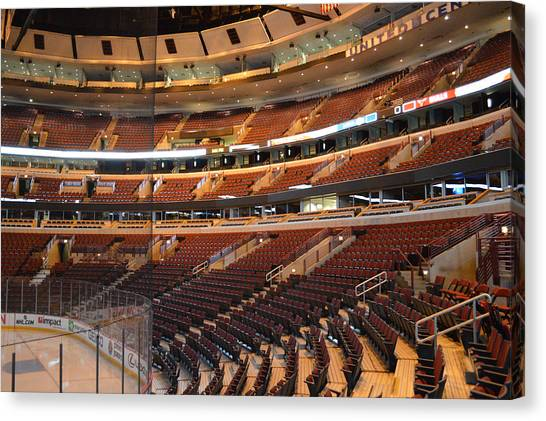 Patrick Kane Canvas Print - Quite Time Chicago United Center Before The Gates Open 02 by Thomas Woolworth