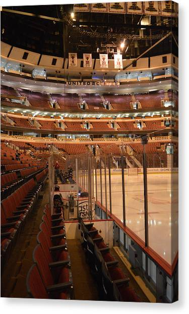 Patrick Kane Canvas Print - Quite Time Chicago United Center Before The Gates Open Vertical by Thomas Woolworth