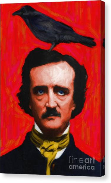 Andy Warhol Canvas Print - Quoth The Raven Nevermore - Edgar Allan Poe - Painterly - Red - Standard Size by Wingsdomain Art and Photography