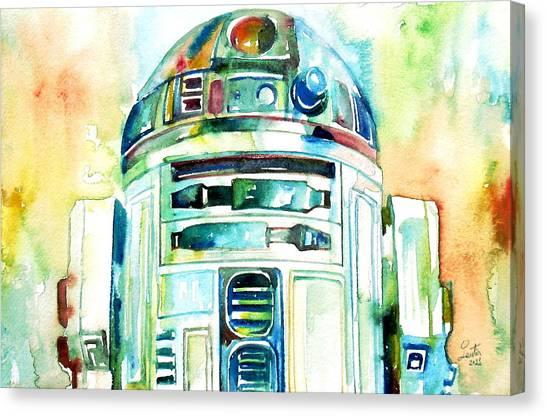 Star Wars Canvas Print - R2-d2 Watercolor Portrait by Fabrizio Cassetta