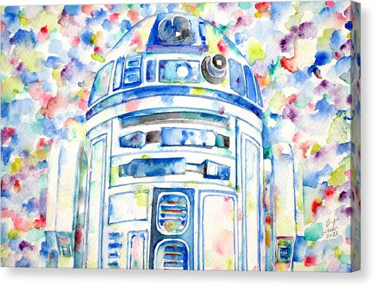 Droid Canvas Print - R2-d2 Watercolor Portrait.1 by Fabrizio Cassetta