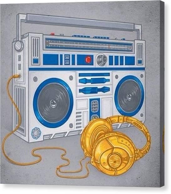 Headphones Canvas Print - #r2d2 #c3po #boombox #headphones by Slevin Lozado