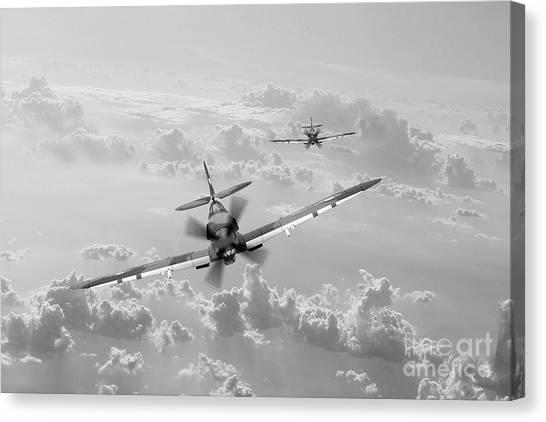 Shark Teeth Canvas Print - Raaf Spitfire Bw by J Biggadike
