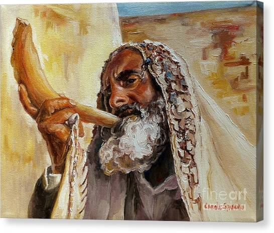 Rabbi Blowing Shofar Canvas Print