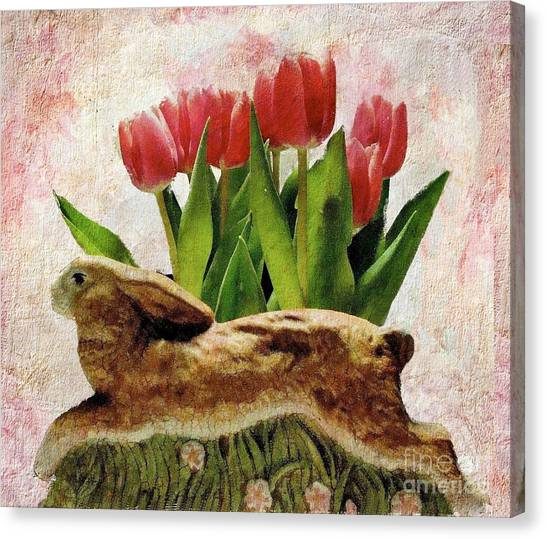 Rabbit And Pink Tulips Canvas Print