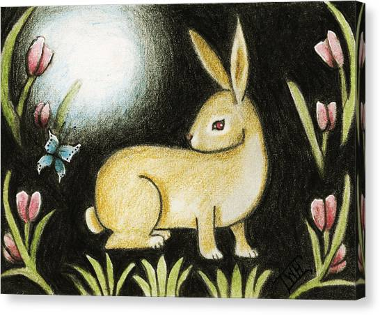 Rabbit And The Butterfly . . . From The Tapestry Series Canvas Print