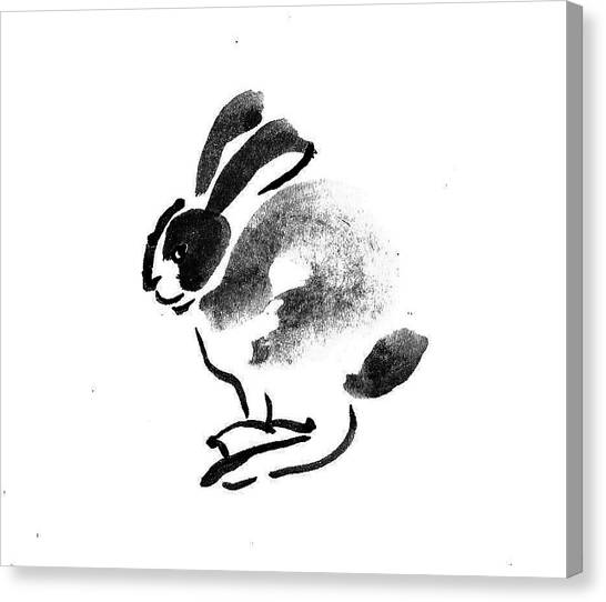 Black and white rabbit canvas print rabbit buck by m e wood