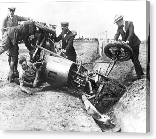 Ditch Canvas Print - Race Car Driver Crashes by Underwood Archives