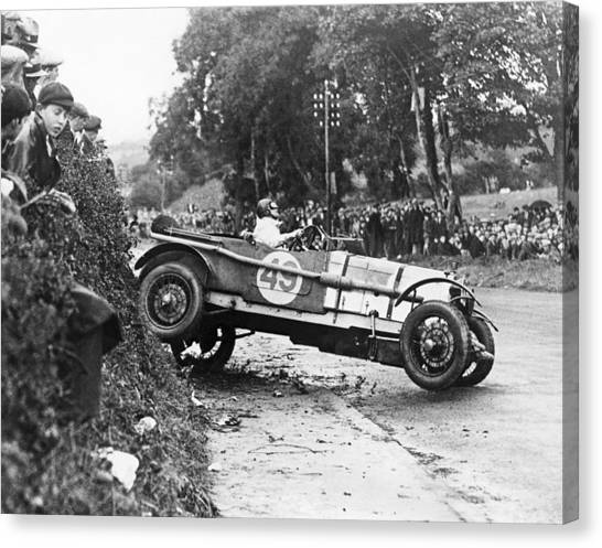 Racecar Drivers Canvas Print - Race Car Driver Skids by Underwood Archives