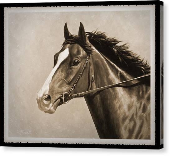 Race Horses Canvas Print - Race Horse Old Photo Fx by Crista Forest