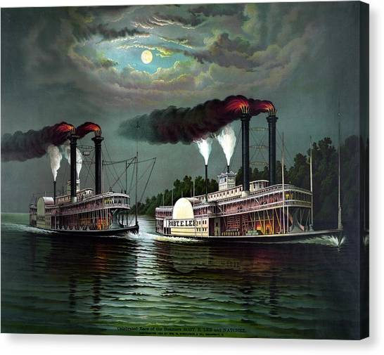 Mississippi River Canvas Print - Race Of The Steamers Robert E Lee And Natchez by War Is Hell Store