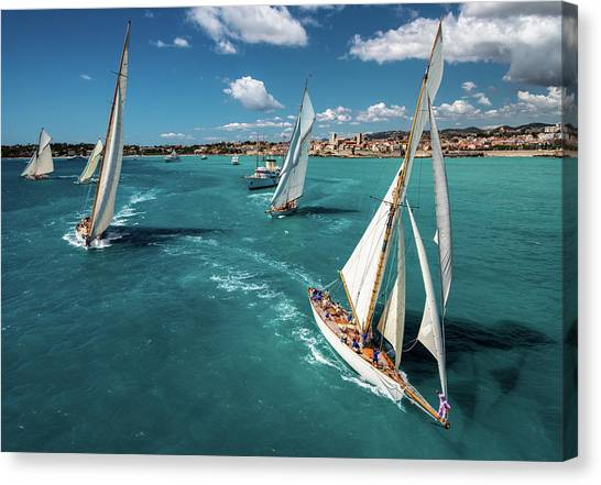 Yacht Canvas Print - Race Start by Marc Pelissier