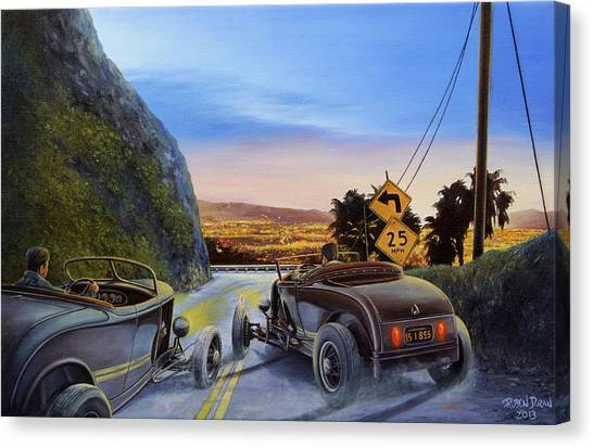 Racing Canvas Print - Race To Dead Man's Curve by Ruben Duran