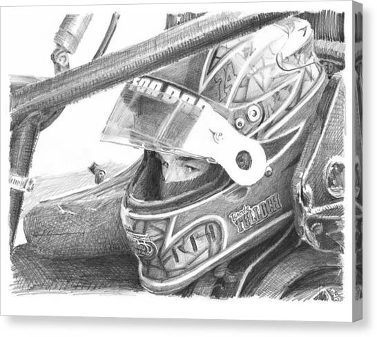 Racecar Driver Pencil Portrait  Canvas Print by Mike Theuer