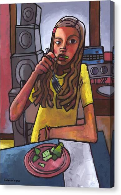 Speakers Canvas Print - Rachel Eating Salad By Tom's Speakers by Douglas Simonson