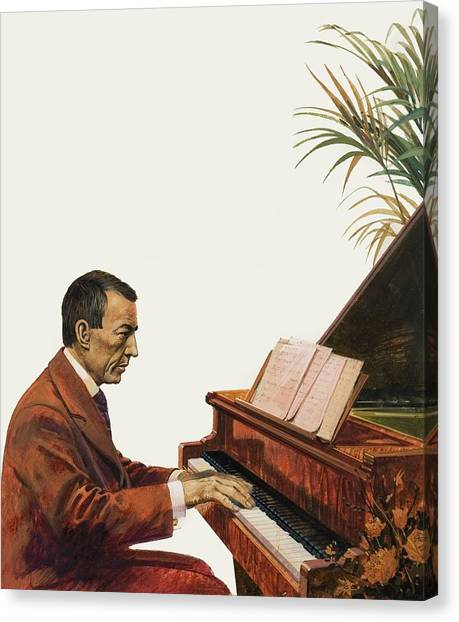Pianos Canvas Print - Rachmaninoff Playing The Piano by Andrew Howat