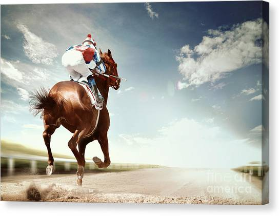 Purebred Canvas Print - Racing Horse Coming First To Finish by Olga i