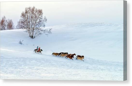 China Canvas Print - Racing On Snow by Hua Zhu