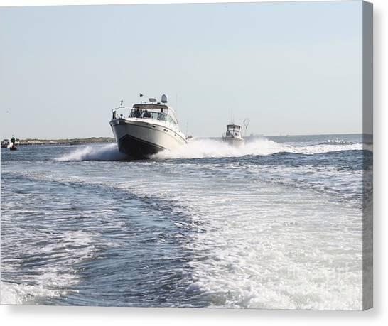 Racing To The Docks Canvas Print