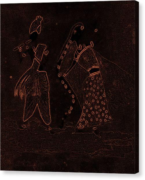 Radha Krishna Dancing Canvas Print