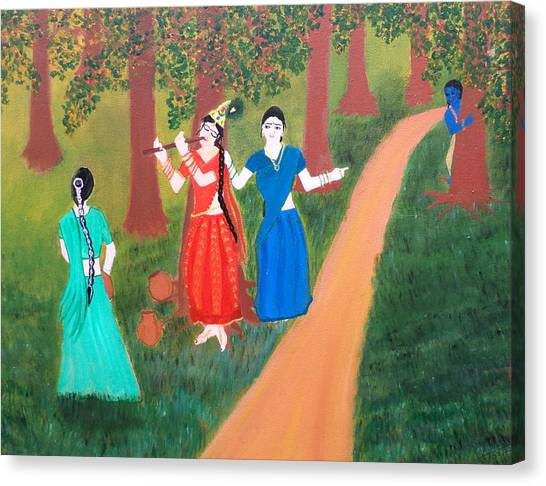 Radha Playing Krishna Canvas Print